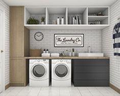 7 Small Laundry Room Design Ideas - Des Home Design Outdoor Laundry Rooms, White Laundry Rooms, Modern Laundry Rooms, Laundry Room Layouts, Laundry Room Remodel, Laundry Room Cabinets, Farmhouse Laundry Room, Laundry Room Signs, Laundry Room Organization