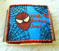 Spiderman Sheet cake for Jace's 4th Birthday! Half Yellow, half Spice sheet cake, all homemade buttercream and homemade candy clay details! All edible, no fondant! https://www.facebook.com/angelas.cakes2011