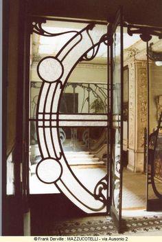 """Milan, Italy - """"You got Art Deco in my Art Nouveau!"""" """"No, you got Art Nouveau… Motif Art Deco, Art Nouveau Design, Art Nouveau Architecture, Architecture Details, Old Doors, Windows And Doors, Unique Doors, Beautiful Buildings, Belle Epoque"""