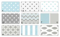 Mist Blue and Storm Gray Custom Crib Baby Bedding YOU DESIGN