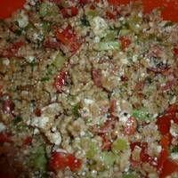 Σαλάτα με πλιγούρι και φέτα Feta, Grains, Rice, Seeds, Laughter, Jim Rice, Korn