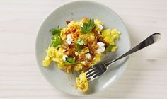 Scrambled Eggs with Caramelized Onions and Chèvre Recipe