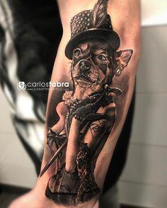 Este fue el tatuaje que hice ayer en el seminario de blanco y negro en @cosafina_tattoo  Rita la Chihuahua de @owen_martin89 Muchas gracias por el aguante y sobretodo a todos los asistentes al seminario por venir Los interesados en las siguientes fechas de los seminarios podéis escribir a carlos_artstudio@hotmail.com #tat #dog #tattoo #chihuahua #tatuaje #perro #friend #love #cabaret #cosafinatattoo #carlosfabra