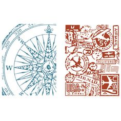 Sizzix Texture Fades Embossing Folders 2/Pkg By Tim Holtz-Airmail & Compass at Joann.com