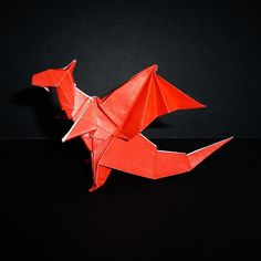 May 4th 2015 Origami dragon I made today. Inspired by @jonakashima #origami #paper #folding #dragon #red #diy #craft #handmade #124