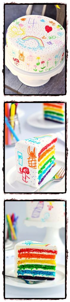 Rainbow Doodle Birthday Cake For Kids