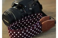"Stylish Camera Straps for Digital SLR's- 52% off.  4 colors to choose from.  Snap that picture in style with these stylish fabric polka dot camera straps!  These are the perfect accessory for your camera or perfect gift for any one who loves photography!  Approximate size: 54"" x 1.2""  Made out of cotton fabric that is soft and will save your neck!  This strap is made to fit all DLSR cameras."