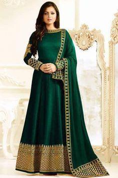Green Color Silk Fabric Heavy Embroidered Gorgeous Look Indian Women Fashion Drashi Dhami Wedding Wear Floor Length Anarkali