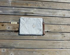 LINEN embroidered geometric pouch  light grey linen  by dawnaparis, €32.00