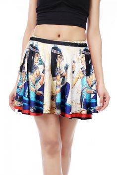 Beige Egypt Graphic Print Pleated Skirt | Psychedelic Monk