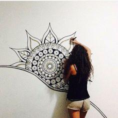 New Wall Drawing Mandala Ideas Mandala Mural, Mandala Drawing, Mandala Painting, Wall Art Designs, Paint Designs, Wall Design, Wall Painting Decor, House Painting, Mural Art