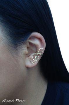 Treble Clef Ear Cuff, Brass Ear Cuff, Cuff Earrings, Simple Ear Cuff, Free Shipping anywhere in the USA by LanniesDesign on Etsy