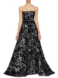 Carolina Hererra Jacquard Lace Strapless Gown from Gala Glamour: Designer Evening Wear & Gowns on Gilt