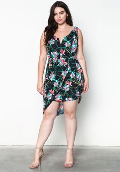 Plus Size Tropical Wrapped Dress - Debshops