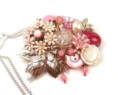Statement Necklace Upcycled Vintage Jewelry Rose Pink Silver