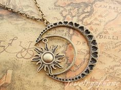 moon&sun necklace-antique bronze moon necklace-sun necklace -alloy necklace-gift necklace(CH-442)