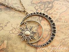 moon&sun necklace-antique bronze moon necklace-sun necklace -alloy necklace-gift necklace(CH-442)