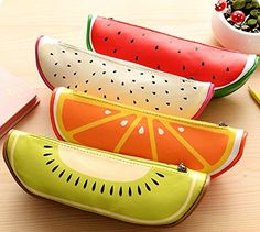 Amazon.com : Samaz Student New Creative Fruit Pattern Pu Leather Pencil bag Pen Case Pouch Stationary Holders Makeup Cosmetic Bag Pouch (Set of 4) : Office Products