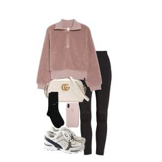 Fashion set pink created via Chic Outfits, Fashion Outfits, Womens Fashion, Outing Outfit, Cute Outfits With Leggings, Mode Chanel, Outfit Invierno, Korean Girl Fashion, Accesorios Casual