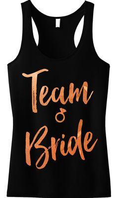 Team Bride Rose Gold Foil Tank Top, Black at www.MrsBridalShop.com