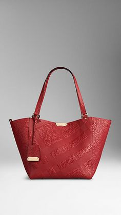 Burberry ~ The Small Canter in Embossed Check Leather, Red