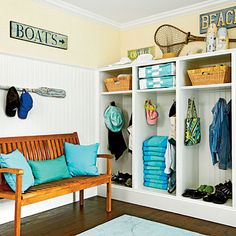 Built-in cubbies are a great way to maximize storage and keep things organized in a mudroom | Coastalliving.com