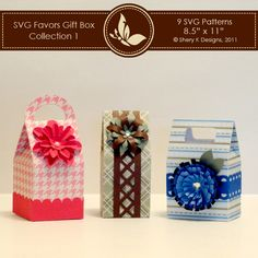 *This listing is for 3 SVG cut files for the boxes and the, 3 SVG flowers and 3 SVG border to make your own party favors boxes.