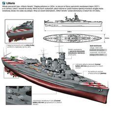 RMN Littorio - Corazzata classe Littorio - Completata6 maggio 1940 - Dislocamento43 835t a pieno carico 45 963 Lunghezza 237,8 m m Larghezza32,9 m m Pescaggio9,6-10,5 m m Propulsione8 caldaie tipo Yarrow/Regia Marina 4 turbine tipo Belluzzo/Parsons 4 eliche Potenza: 140 000 hp Velocità30 nodi Autonomia3 920 mn a 20 nodi (7 300 km a 37 km/h) Equipaggio120 ufficiali, 1 800 sottufficiali e comuni - Demolita a seguito delle condizioni imposte all'Italia dal trattato di pace