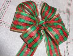 Red Green Plaid gift bow, wreath bow package decoration, buffet table decor wired ribbon