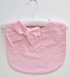 Girl baby bib / polka dot baby bib / pink baby bib