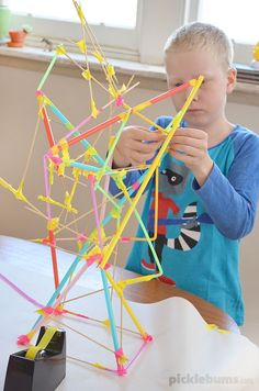 Straw and Stick Constructions - what can you build from straws, sticks and tape? @katepickle