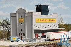 Walthers Cornerstone R. Frost Ice & Storage -- Kit - x x x x Cooling Tower, Model Building Kits, Model Train Layouts, Concrete Wall, Model Trains, Rooftop, Diorama, Railroad Tracks, Frost