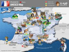 France Unesco Map (41) / 1 Mixed site, 3 Natural site, 37 Cultural site