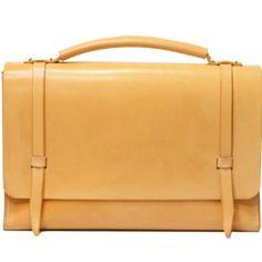 Natural leather messenger bag, yellow, honey, untanned, men's fashion women's business briefcase; attachee attaché,