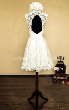 Mini Knee-length Scalloped Lace&Satin Dress With Keyhole Back