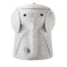 Elephant Wicker Laundry Basket Nursery Toys Home White