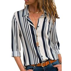 a7f5bb4e1b Rogi Women Striped Button Blouse Casual Long Sleeve Blouses Shirts Elegant  Office Lady Loose Shirt Tops