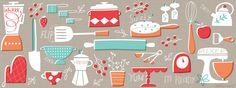 Salli S. Illustration Inspiration, Pattern Illustration, Kitchen Prints, Kitchen Art, Food Patterns, Print Patterns, Pinterest Instagram, Typography Art, Retro Art