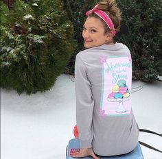 @ainsleydrew1 has SWEET and PREPPY all wrapped up with style. Come check out our other MACAROON long sleeve TEES at southerngirlprep.com