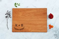 Couple Initial Monogram Cutting Board Wooden by WoodLuckEngraved