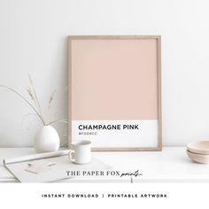Champagne Pink Color Art Print Printable Pantone Wall Art   Etsy Color Art, Pink Color, Pantone, Printable Art, Printables, Champagne, Palette, Workspace Inspiration, Fox Print