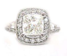 14k white gold princess cut diamond engagement ring by KNRINC, $7297.00