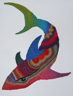 Freeform crocheted Shark by Ann*Benoot, inspired by Zentangle Drawing of power animals. Textile art 'painting' 40x50 cm