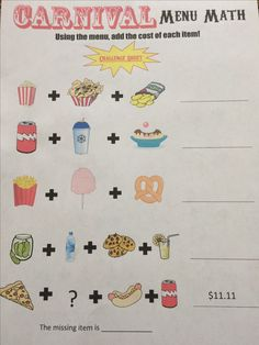 A challenge worksheet for the more advanced students! They are given a menu and asked to add three menu items together.