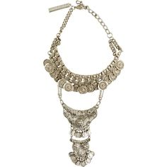 Goldbarr Dynasty Choker Necklace ($112) ❤ liked on Polyvore featuring jewelry, necklaces, grey, adjustable necklace, coin charms, statement necklace, grey statement necklace and layered necklace