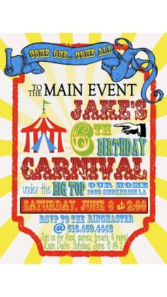 Carnival/Circus Birthday Party Ideas | Photo 1 of 34 | Catch My Party