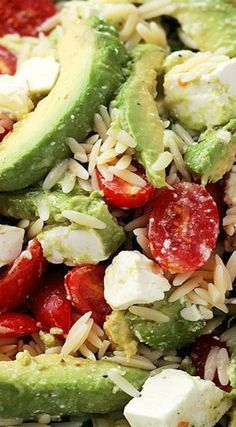 Avocado and Feta Cheese Orzo Salad - Bright, simple, and delicious appetizer salad with Avocados, Feta Cheese and Orzo. Orzo Salad Recipes, Salad Dressing Recipes, Veggie Recipes, Vegetarian Recipes, Cooking Recipes, Healthy Recipes, Pasta Salad, Feta Cheese Nutrition, Broccoli Nutrition