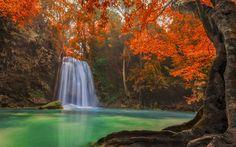 Download imagens outono cachoeira, floresta, lago, folhas de outono, rock, outono