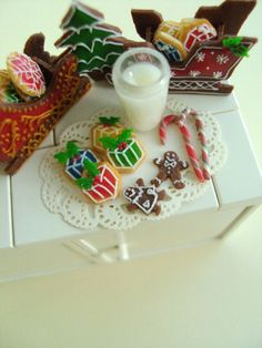 Miniature Cookies and Milk