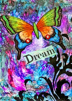 stunning color and inexpensive ACEO art card metallic photograph Butterfly Dreams